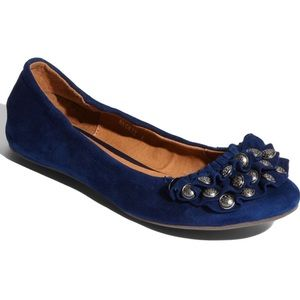 Jeffrey Campbell Beckie Ruffled Toe Blue Flats 8.5